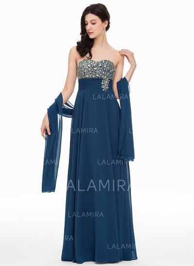 Vestidos princesa/ Formato A Amada Longos Tecido de seda Vestido de festa com Beading (017169832)