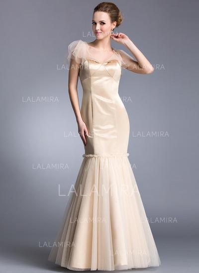 Beautiful V-neck Trumpet/Mermaid Satin Tulle Evening Dresses (017201275)