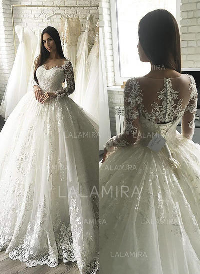 Scoop Ball-Gown Wedding Dresses Tulle Appliques Lace Long Sleeves Court Train (002213511)