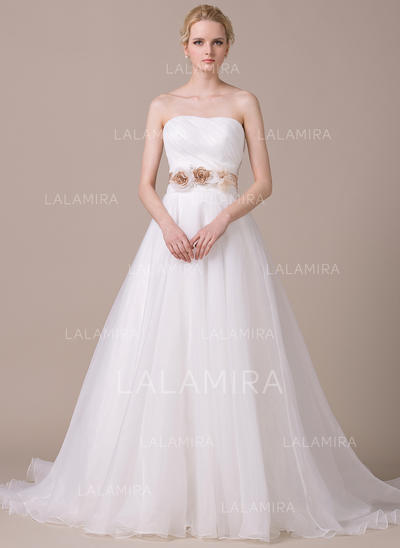 Strapless Sleeveless Sweetheart With Organza Wedding Dresses (002210577)