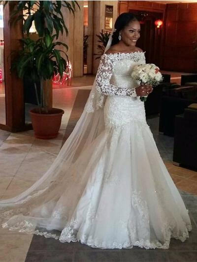 Trumpet/Mermaid Tulle Long Sleeves Off-The-Shoulder Court Train Wedding Dresses (002147792)