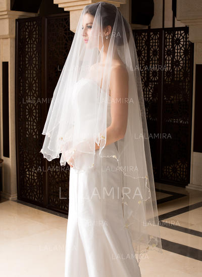 Waltz Bridal Veils Tulle One-tier Drop Veil With Pencil Edge Wedding Veils (006151507)