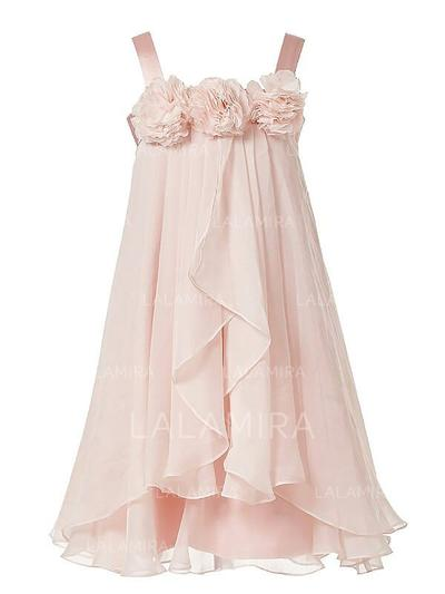Straps A-Line/Princess Flower Girl Dresses Chiffon Flower(s) Sleeveless Tea-length (010211773)