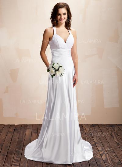 Traîne moyenne Sans manches Forme Princesse - Charmeuse Dentelle Robes de mariée (002213237)