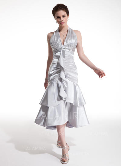 A-Line/Princess Halter Tea-Length Charmeuse Cocktail Dresses With Beading Cascading Ruffles (016021207)