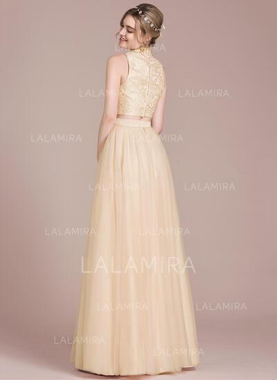 High Neck Floor-Length Tulle Prom Dresses