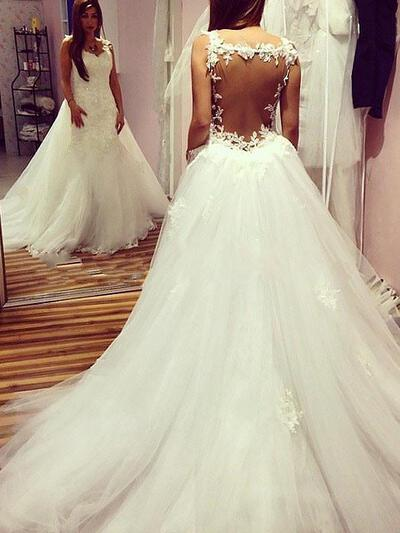 Appliques Sweetheart Ball-Gown - Tulle Wedding Dresses (002210866)