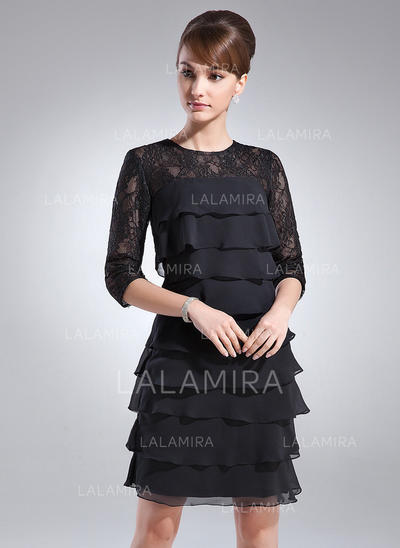 Sheath/Column Scoop Neck Chiffon Lace Gorgeous Mother of the Bride Dresses (008213088)
