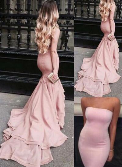 Trumpet/Mermaid Court Train Prom Dresses Strapless Satin Sleeveless (018146580)