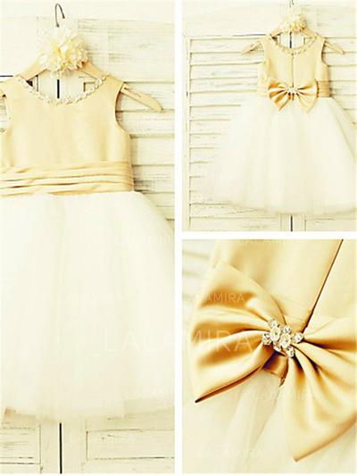 Scoop Neck A-Line/Princess Flower Girl Dresses Satin/Tulle Beading/Bow(s) Sleeveless Knee-length (010211871)