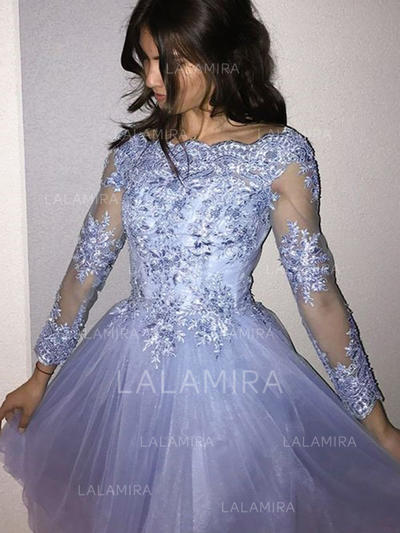 Stunning Homecoming Dresses A-Line/Princess Short/Mini Scoop Neck Long Sleeves (022216313)