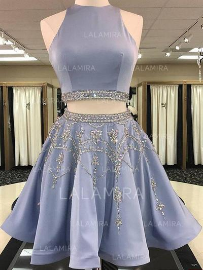 Fashion Satin Homecoming Dresses A-Line/Princess Knee-Length Scoop Neck Sleeveless (022216220)