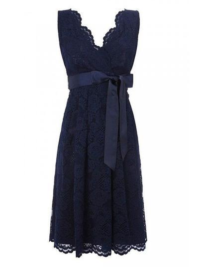 A-Line/Princess V-neck With Lace Bridesmaid Dresses (007146674)