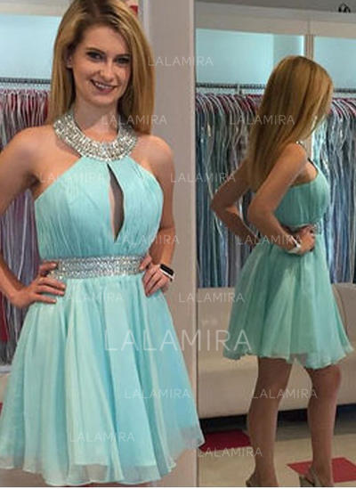 A-Line/Princess Halter Knee-Length Cocktail Dresses With Beading (016145290)