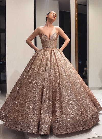 Floor-Length Strapless Sequined Ball-Gown Prom Dresses (018219378)