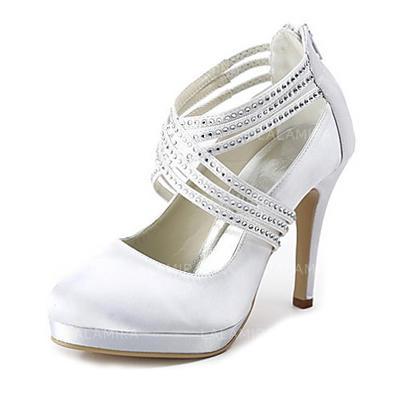 Women's Closed Toe Platform Pumps Cone Heel Satin With Rhinestone Zipper Wedding Shoes (047203098)