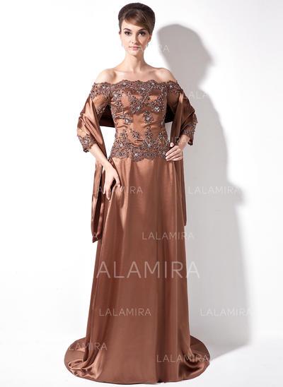 Moderno Charmeuse Fuera del hombro Corte A/Princesa Vestidos de madrina (008006171)