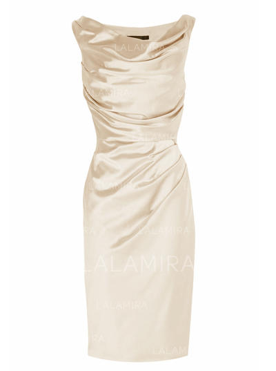 Sheath/Column Charmeuse Sleeveless Cowl Neck Knee-Length Zipper Up Mother of the Bride Dresses (008146319)