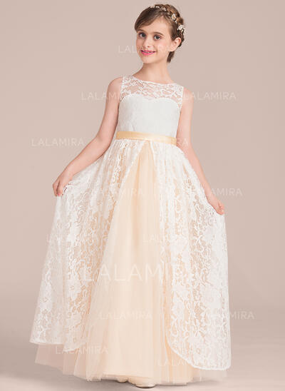 Forme Princesse Longueur ras du sol Robes à Fleurs pour Filles - Satiné/Tulle/Dentelle Sans manches Col rond (010136606)