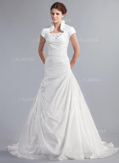 Beading Cascading Ruffles Short Sleeves High Neck Taffeta A-Line/Princess Wedding Dresses (002210416)