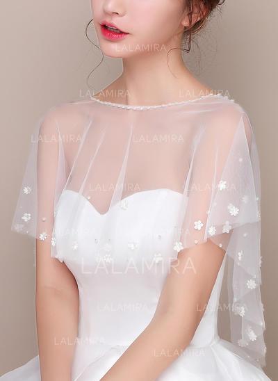Wrap Wedding Lace Tulle Sleeveless With Flower Wraps (013150186)