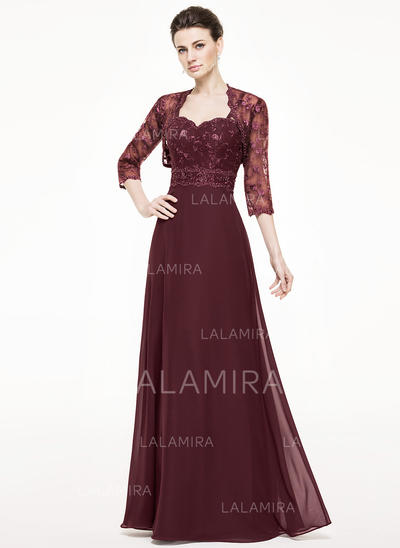 A-Line/Princess Chiffon Lace Sleeveless Sweetheart Floor-Length Zipper Up Mother of the Bride Dresses (008062530)