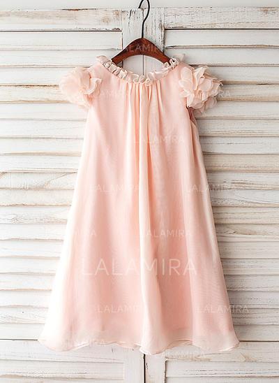 Vestidos princesa/ Formato A Coquetel Vestidos de Menina das Flores - Tecido de seda Manga curta Decote redondo com Pregueado (010119309)