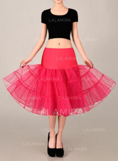 Bustle Tea-length Tulle Netting/Satin A-Line Slip 2 Tiers Petticoats (037190852)