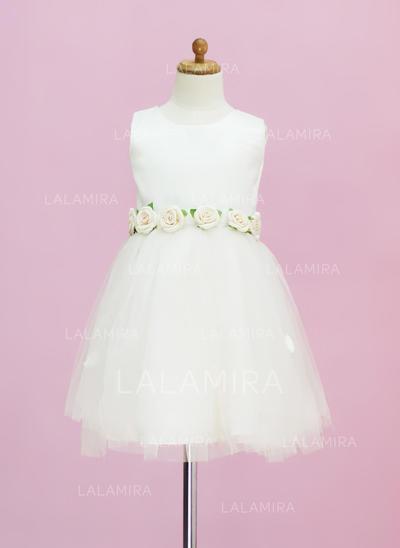 Elegant Scoop Neck A-Line/Princess Satin/Tulle Flower Girl Dresses (010005331)