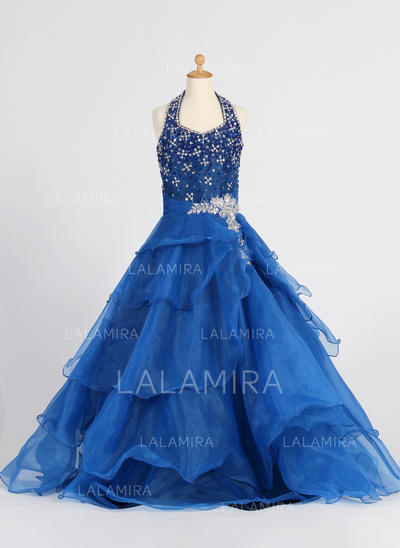 Floor-length Halter Organza Flower Girl Dresses With Ruffles/Sequins/Rhinestone (010007648)