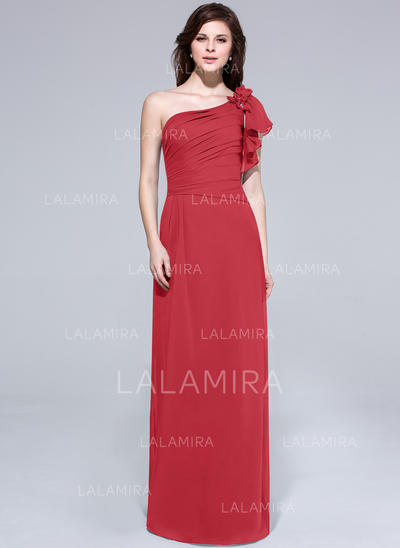 One-Shoulder A-Line/Princess Chiffon Short Sleeves Bridesmaid Dresses (007062994)