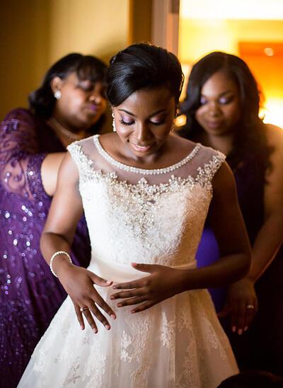 Princess Sash Beading Appliques A-Line/Princess With Tulle Wedding Dresses (002148523)