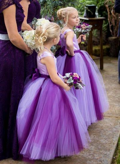 Square Neckline Ball Gown Flower Girl Dresses Bow(s) Sleeveless Ankle-length (010146698)