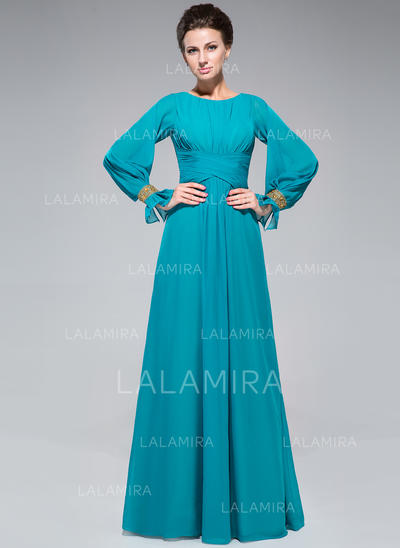 A-Line/Princess Chiffon Long Sleeves Scoop Neck Floor-Length Zipper Up Mother of the Bride Dresses (008047382)