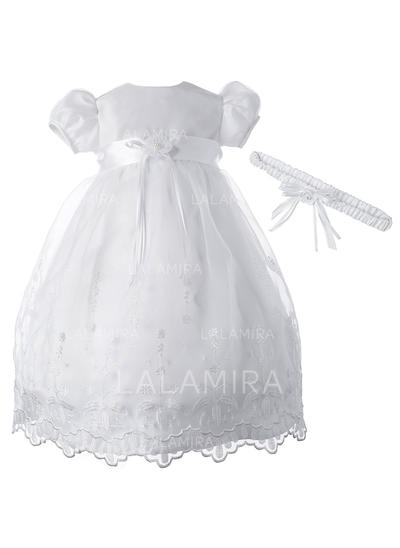 A-Line/Princess Scoop Neck Floor-length Tulle Christening Gowns With Beading (2001217394)