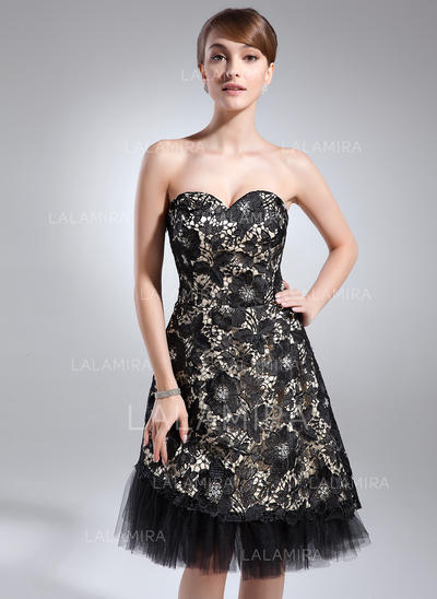2019 New A-Line/Princess Charmeuse Lace Cocktail Dresses (016008502)