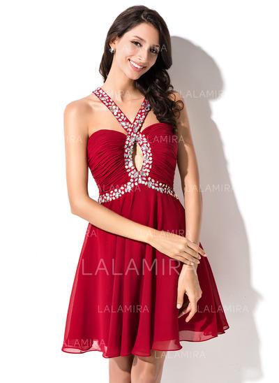Amoureux Sans manches Mousseline Sublime Robes de soirée étudiante (022214024)