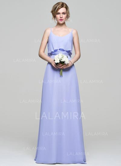 Chic Chiffon Prom Dresses A-Line/Princess Floor-Length Scoop Neck ...