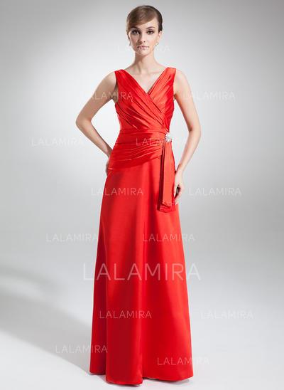 Chic V-neck A-Line/Princess Charmeuse Evening Dresses (017002579)