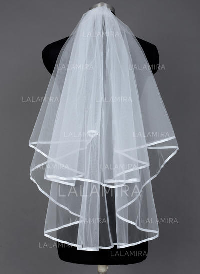 Fingertip Bridal Veils Tulle Two-tier Classic/Cascade With Ribbon Edge Wedding Veils (006151407)
