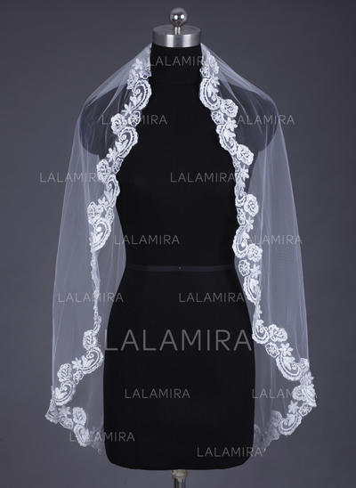 Fingertip Bridal Veils Tulle/Lace One-tier Oval/Mantilla With Lace Applique Edge Wedding Veils (006151616)