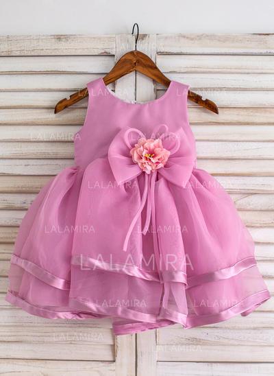 Scoop Neck Ball Gown Flower Girl Dresses Organza Flower(s)/Bow(s) Sleeveless Knee-length (010211638)