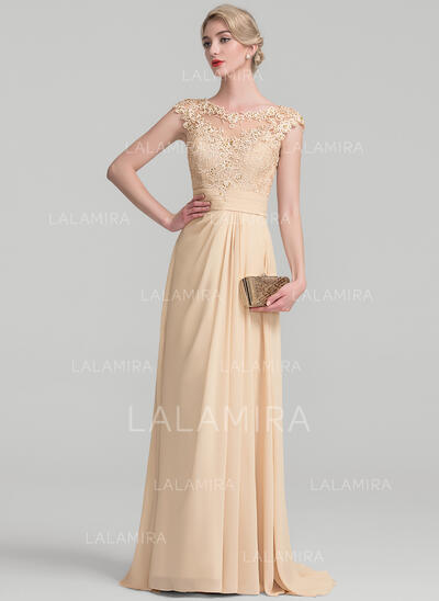 A-Line/Princess Scoop Neck Sweep Train Chiffon Lace Evening Dress With Ruffle Beading (017131502)