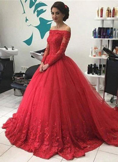Ball-Gown Tulle Prom Dresses Off-the-Shoulder Long Sleeves Chapel Train (018148496)