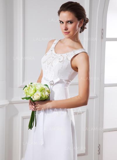Satin Organza A-Line/Princess Sexy Sash Beading Bow(s) Wedding Dresses (002015483)