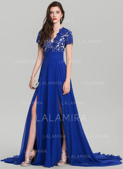 A-Line/Princess V-neck Sweep Train Chiffon Evening Dress With Sequins Split Front (017126614)