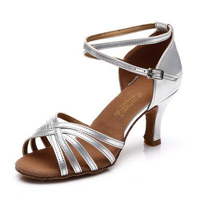 De mujer Danza latina Tacones Sandalias Satén Cuero con Tira de tobillo Agujereado Zapatos de danza (053111419)