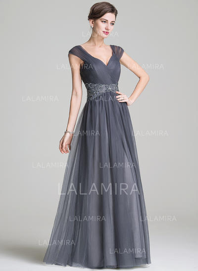 Elegant Floor-Length A-Line/Princess Tulle Mother of the Bride Dresses (008211132)