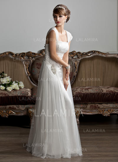 Ruffle Beading Sleeveless Square Tulle A-Line/Princess Wedding Dresses (002210412)