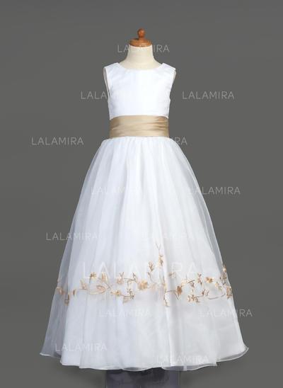 Scoop Neck A-Line/Princess Flower Girl Dresses Organza/Satin Embroidered/Sash Sleeveless Floor-length (010212051)